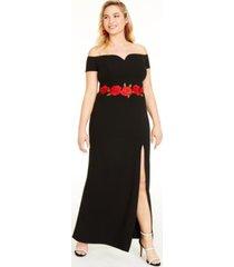 b darlin trendy plus size floral applique gown