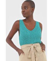 regata linho gap tricot texturizado verde - verde - feminino - linho - dafiti