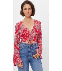 blouse met paisleyprint en strik