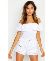 broderie ruffle off the shoulder top, white