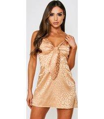 leopard satin jacquard tie front slip dress, taupe