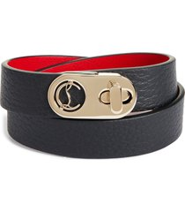 women's christian louboutin elisa leather double wrap bracelet