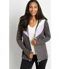 maurices womens gray chevron hooded zip up jacket