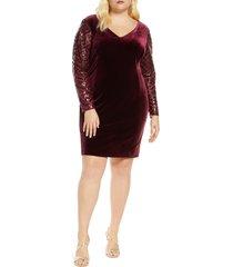 plus size women's donna ricco long sleeve v-neck velvet cocktail dress