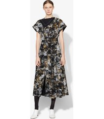 proenza schouler foil printed silk button front dress black/gold 6