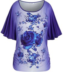 plus size batwing sleeve floral print ombre tee