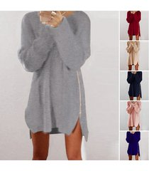 women warm loose above knee polyester plain knitted zipper sweater dresses white