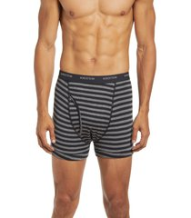 nordstrom 3-pack supima(r) cotton boxer briefs, size small in charcoal grey htr- stripe pack at nordstrom