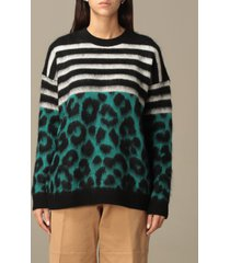 n° 21 sweater animalier and striped mohair crewneck