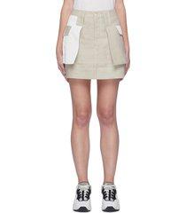 colourblock patch pocket linen mini skirt