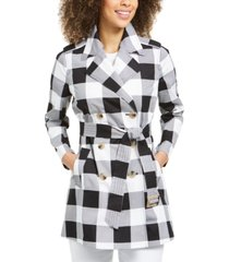 charter club petite gingham cotton trench coat, created for macy's