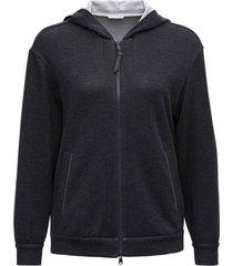 brunello cucinelli grey cotton and silk hoodie