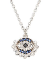 lucky sterling silver & multi-stone evil eye necklace