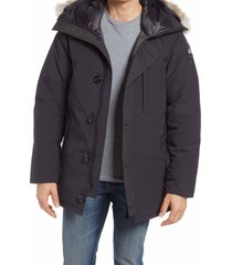 men's canada goose chateau 625-fill-power down parka with genuine coyote fur trim, size large - blue