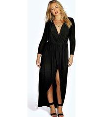 plus strakke maxi wikkel jurk, zwart