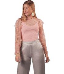 blusa adrissa en transparencia con nido de abeja e interior palo de rosa
