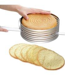 cortador de bolos em camadas redondo ajustavel - aro de bolo em aço inox