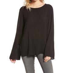 women's treasure & bond soft voile shirt, size large - black