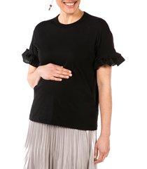 women's loyal hana joey ruffle sleeve maternity/nursing t-shirt, size x-small - black