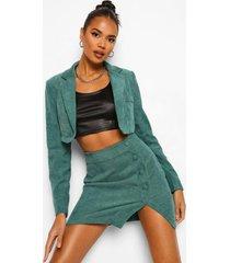corduroy jurk met ceintuur en geplooide zoom, green