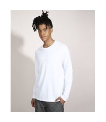 camiseta básica comfort fit manga longa gola careca branca