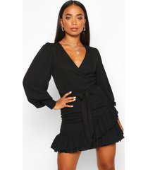 petite frill hem belted wrap dress, black