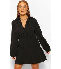 blouse jurk met ruches, zwart