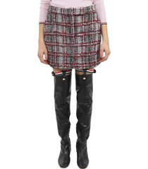 thom browne check tweed skirt