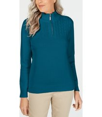 karen scott petite cotton mock-neck pullover, created for macy's