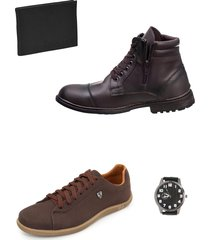 bota masculina chelsea e sapatenis com brindes selten - marrom - masculino - couro sintã©tico - dafiti