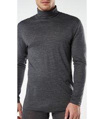 maglia a manica lunga in lana merino collo alto