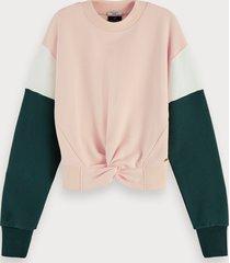scotch & soda gerecyclede sweater met colourblock en geknoopt detail