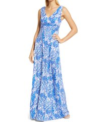 lilly pulitzer(r) sloane sleeveless midi dress, size medium in baha blue bird is the word at nordstrom