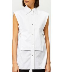 helmut lang women's sleeveless bib shirt - white satin - s - white