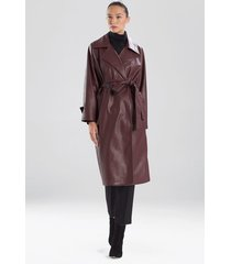 natori faux leather trench coat, women's, deep garnet, size l natori