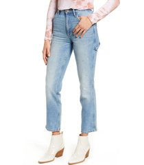 lee high waist dungaree ankle jeans, size 33 in authentic fade at nordstrom
