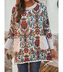 camicetta a maniche lunghe vintage patchwork stampa etnica per donna