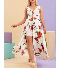 plus size floral print button up dress with shorts set
