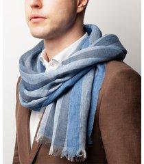 sciarpa da uomo, maalbi, lino righe blu, primavera estate | lanieri