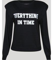 """blusão de moletom feminino muscle """"everything, in time"""" com sobreposição preto"""