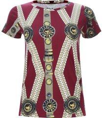 camiseta estampado broches color vino, talla 10