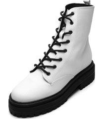 bota coturno zatz salto grosso branca - branco - feminino - dafiti