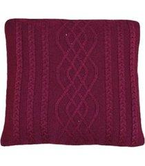 capa almofada tricot 45x45cm c/zãper sofa trico cod 1026 marsala - vinho - feminino - dafiti