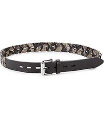 rebecca minkoff women's embossed snakeskin-print leather belt - sandrift - size l