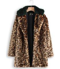 cappotti lunghi con cappuccio in finta pelliccia leopardata
