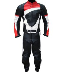 mens black red white color motorcycle leather suit leather jacket and pants
