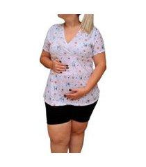 pijama plus size linda gestante short doll grávida amamentação cachorros feminino
