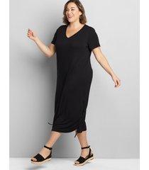 lane bryant women's short-sleeve ruched side midi dress 34/36 black