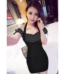 pf261 sexy sweet off-shoulder 2 in 1 dress, size s-xl, spots/black