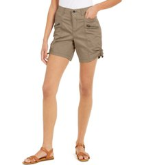 style & co petite cotton zip cargo shorts, created for macy's
